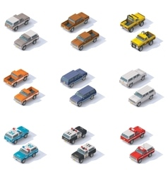 isometric SUVs set vector image