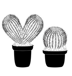 kaktus heart shaped pot cactus tattoo sign for vector image