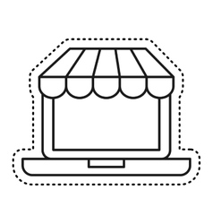 Laptop computer ecommerce isolated icon vector