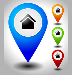 map pins map markers with house symbol vector image