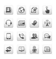 media and communication icons set silver gray vector image