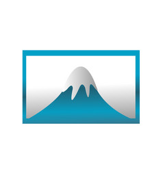 mountain covered with ice in the blue frame vector image