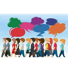 People walking with bubble speeches vector image