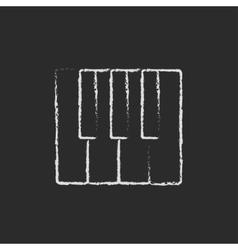 Piano keys icon drawn in chalk vector image
