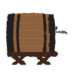 pixelated wooden beer barrel vector image