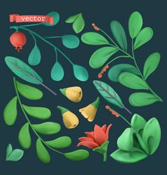plants and flowers 3d objects set plasticine art vector image