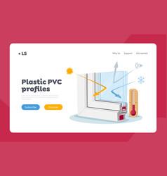 Plastic window pvc profile landing page template vector