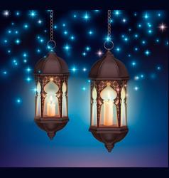 ramadan lanterns night composition vector image