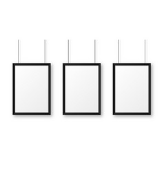 realistic hanging on a wall blank black picture vector image