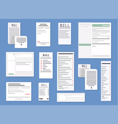 Realistic receipts bills commercial checks paying vector