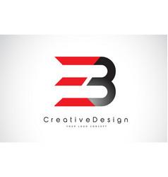 red and black eb e b letter logo design creative vector image