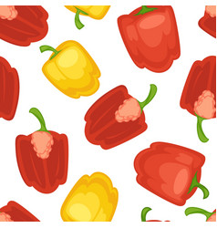 red and yellow bell pepper seamless pattern vector image