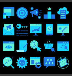 search engine optimization icon set in flat style vector image