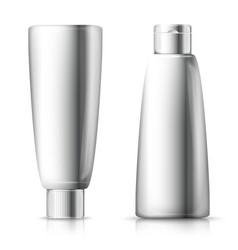 set - 3d realistic shampoo bottles vector image