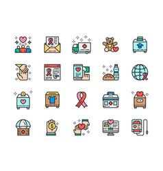 Set donation flat color line icons vector