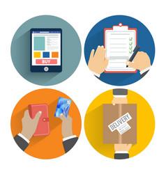 Set hands clients purchasing vector