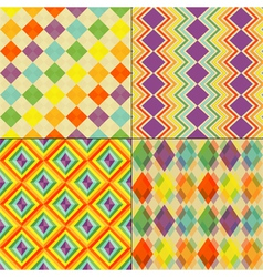 Set of Colorful Retro Seamless Pattern Wallpaper vector image