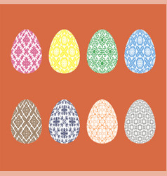 set of easter eggs with different ornaments vector image