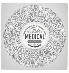 Set of medical cartoon doodle objects vector