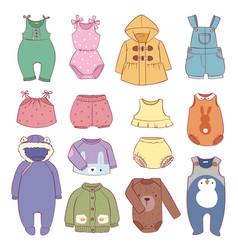 Set seasonal infant clothes for kids babyish vector