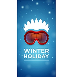 Ski goggles and hairstyle Winter holiday vector image