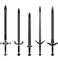 stencils medieval swords vector image