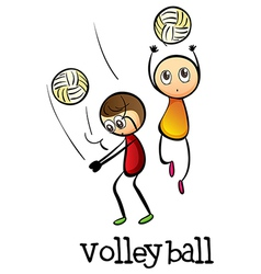 Stickmen playing volleyballs vector