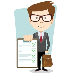 Successful young businessman with document vector