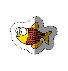 surprised fish scalescartoon icon vector image