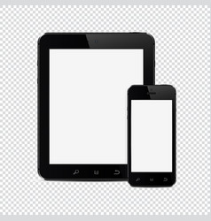 tablet pc with mobile smartphone isolated on vector image