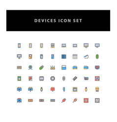 technology device icon set with filled outline vector image