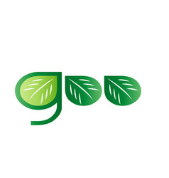 text goo with leaf icon vector image