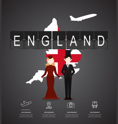 traveling to england with map infographic vector image