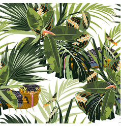 Tropical seamless pattern with bright green leaves vector