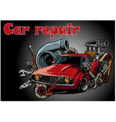 vintage car components collection witn automobile vector image