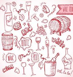Wine sketch and vintage doodles vector