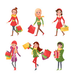 woman in christmas holidays shopping presents vector image