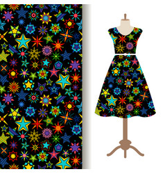 Women fabric pattern with kaleidoscope stars vector