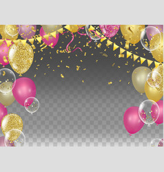 yellow and pink metallic baloons with gold flags vector image