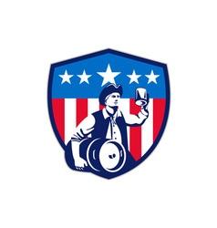 American Patriot Beer Keg Flag Crest Retro vector image