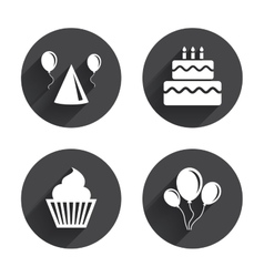 Birthday party Cake balloon hat and muffin vector image vector image