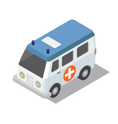 flat 3d isometric ambulance car for city map vector image