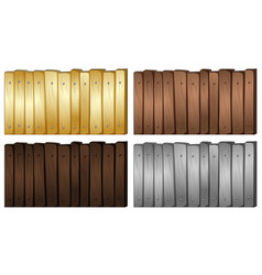 four colors of wood for fence vector image
