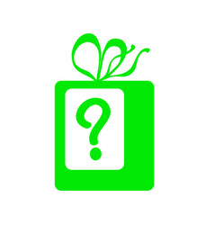 green present with question mark icon vector image vector image
