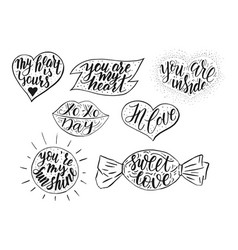 hand drawn romantic quote set in different vector image