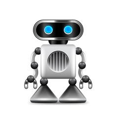robot with triangular legs isolated on white vector image vector image