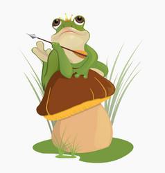 the princess frog sits on the mushroom vector image