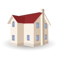 two storey house isolated on white vector image vector image