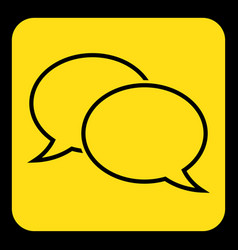 Yellow black sign - two outline speech bubbles vector