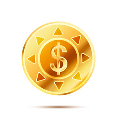 bright glossy golden coin with dollar sign on vector image vector image